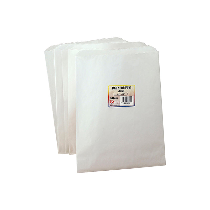 COLORFUL PAPER BAGS 8.5X11 WHITE