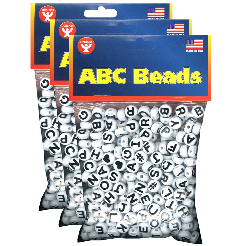 (3 PK) ABC BEADS BLACK AND WHITE
