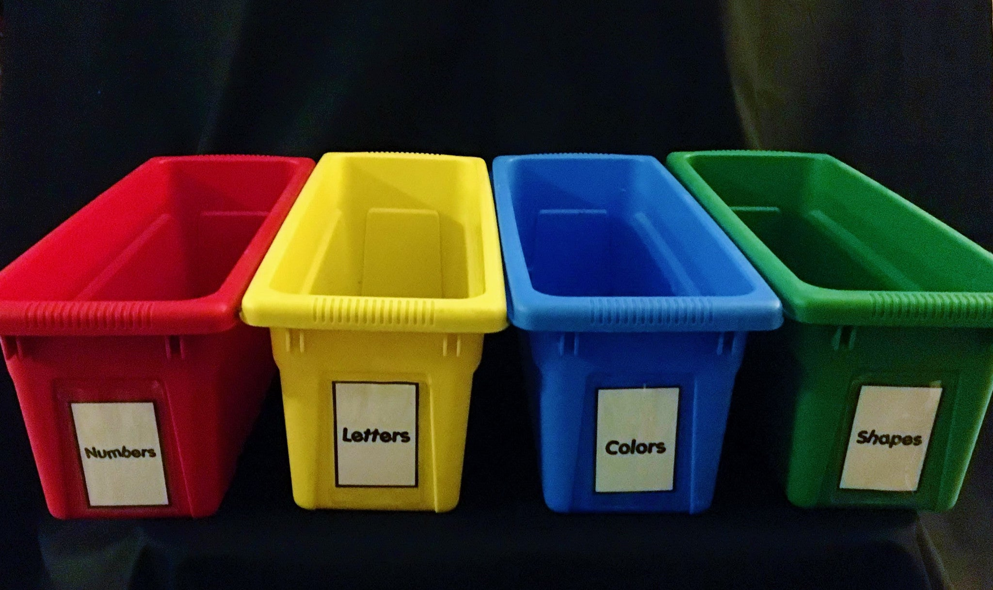 Primary Colors Storage Bins, Set of 4