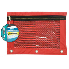 (12 EA) 3 RING PENCIL POUCH W MESH