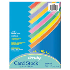 PACON CARD STOCK 8.5X11 COLORFUL 50