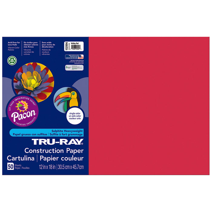 TRU RAY 12 X 18 HOLIDAY RED 50 SHT