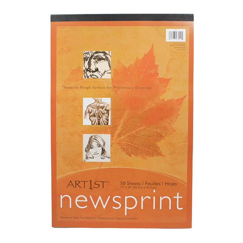 ART1ST NEWSPRINT PAD 12X18 50 SHT