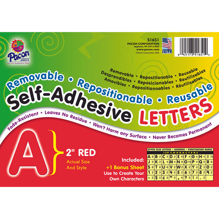 SELF ADHESIVE LETTER 2IN RED