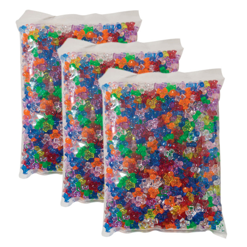 (3 PK) TRI BEADS ASSORTED COLORS