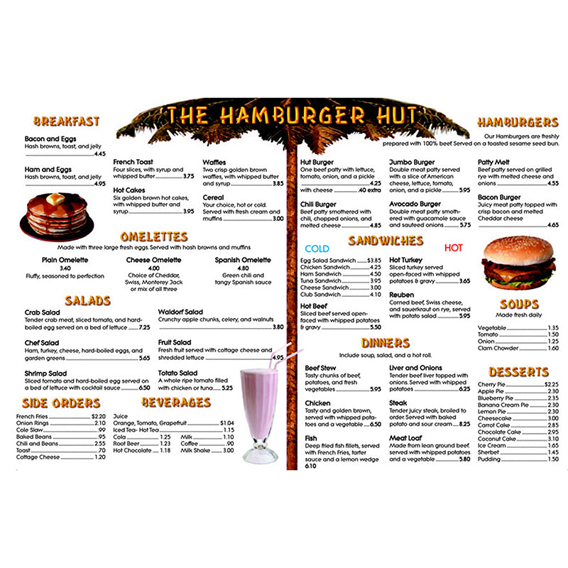 MENU MATH HAMBURGER HUT EXTRA