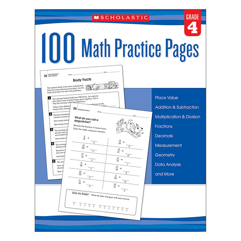 100 MATH PRACTICE PAGES GR 4