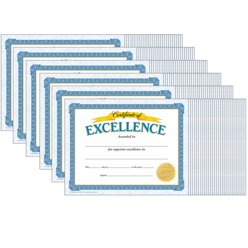 (6 PK) CERTIFICATE OF EXCELLENCE