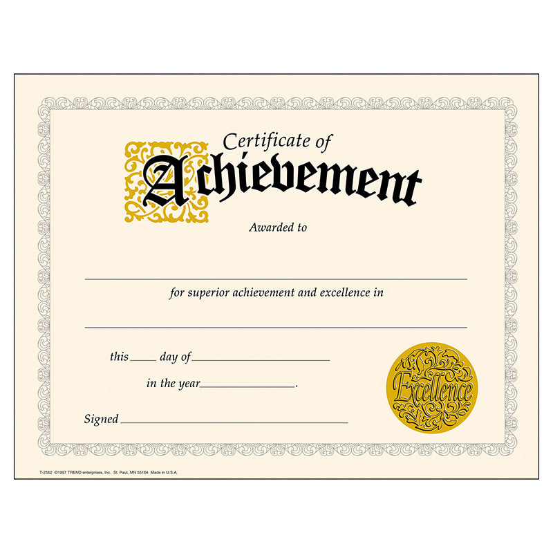(6 PK) CERTIFICATE OF ACHIEVEMENT
