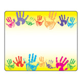 (12 PK)NAME TAGS RAINBOW HANDPRINTS