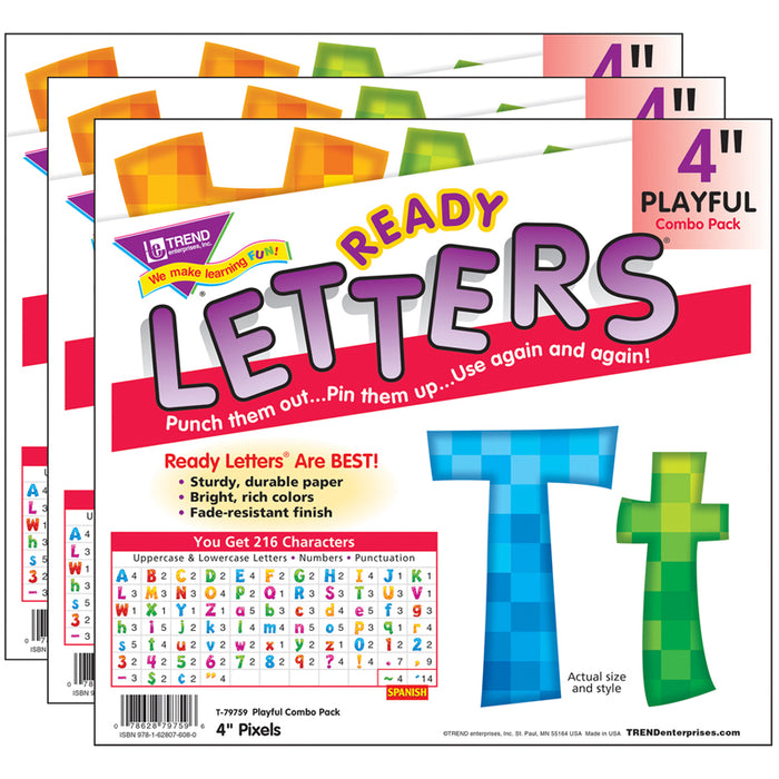 (3 ST) READY LETTERS 4IN PIXELS