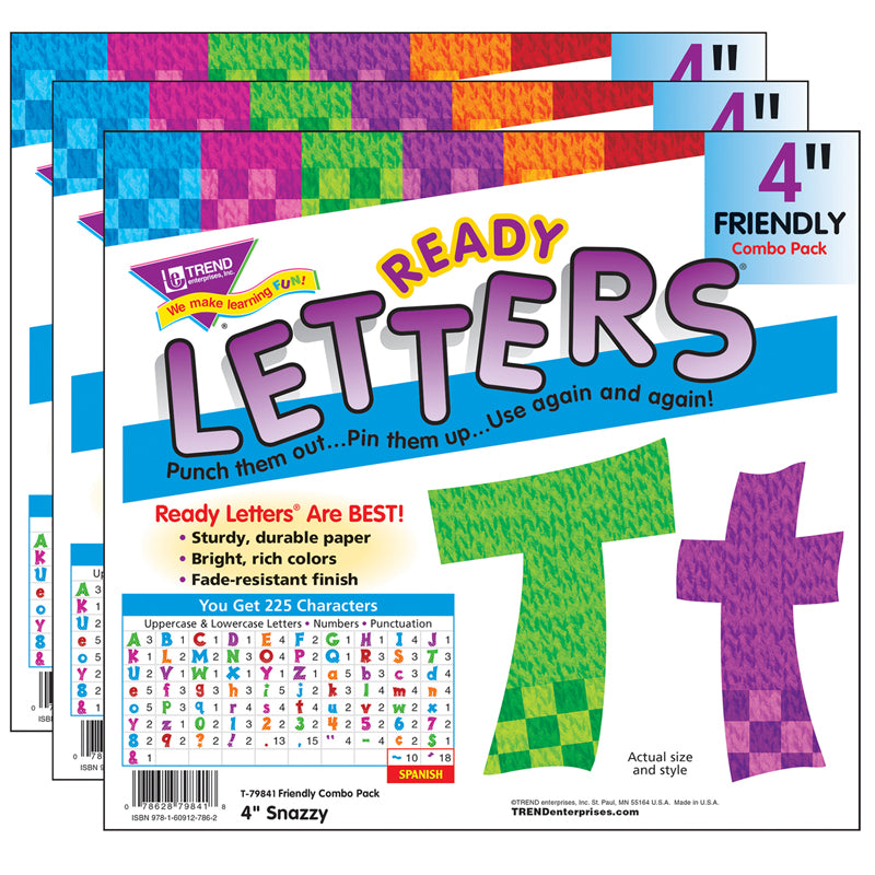 (3 PK) READY LETTERS 4IN SNAZZY