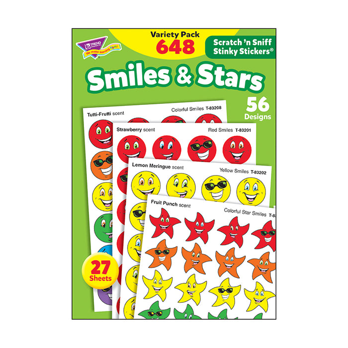 STINKY STICKERS SMILES STARS 648/PK