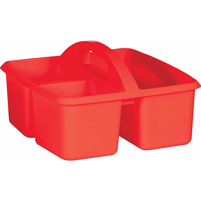 RED PLASTIC STORAGE CADDY