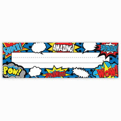 SUPERHERO FLAT NAME PLATES 36/PK