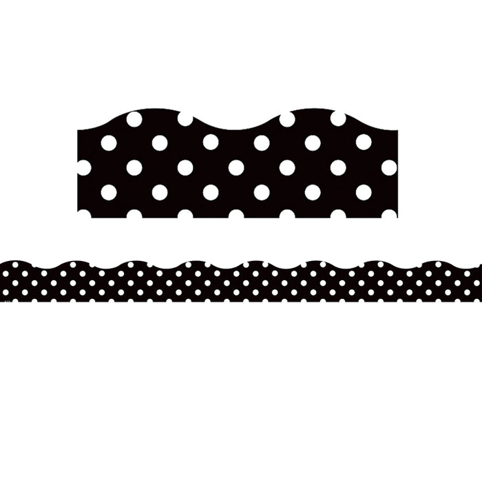 BLACK POLKA DOTS SCALLOPED BORDERS
