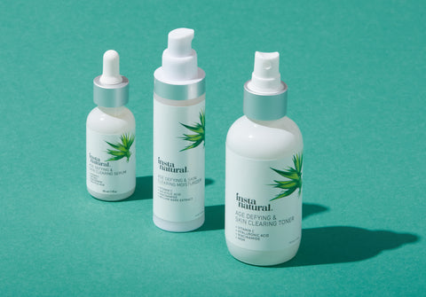 InstaNatural's Skin Clearing Collection including Age Defying & Skin Clearing Serum, Age Defying & Skin Clearing Toner, Age Defying & Skin Clearing Moisturizer