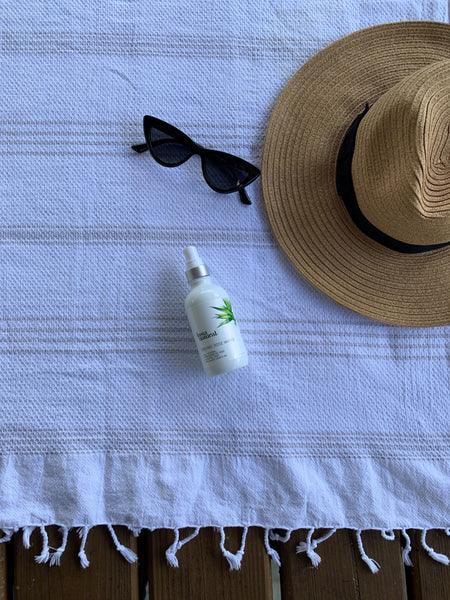 Stay cool in the sun with sunglasses and a hat and InstaNatural's Rose Water Toner that will hydrate you.
