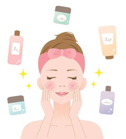 Graphic of female with different lotions and serums