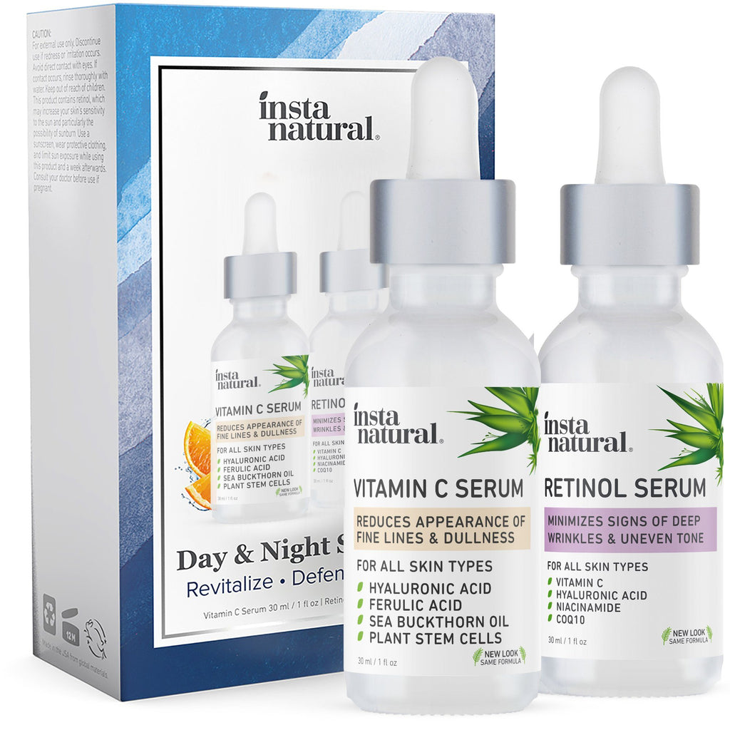 Day & Night Skin Duo - Retinol and Vitamin C Serum - InstaNatural | Natural & Organic Skin and Hair Care