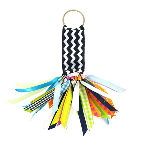 Chevron Black and White Soodle Key Chain
