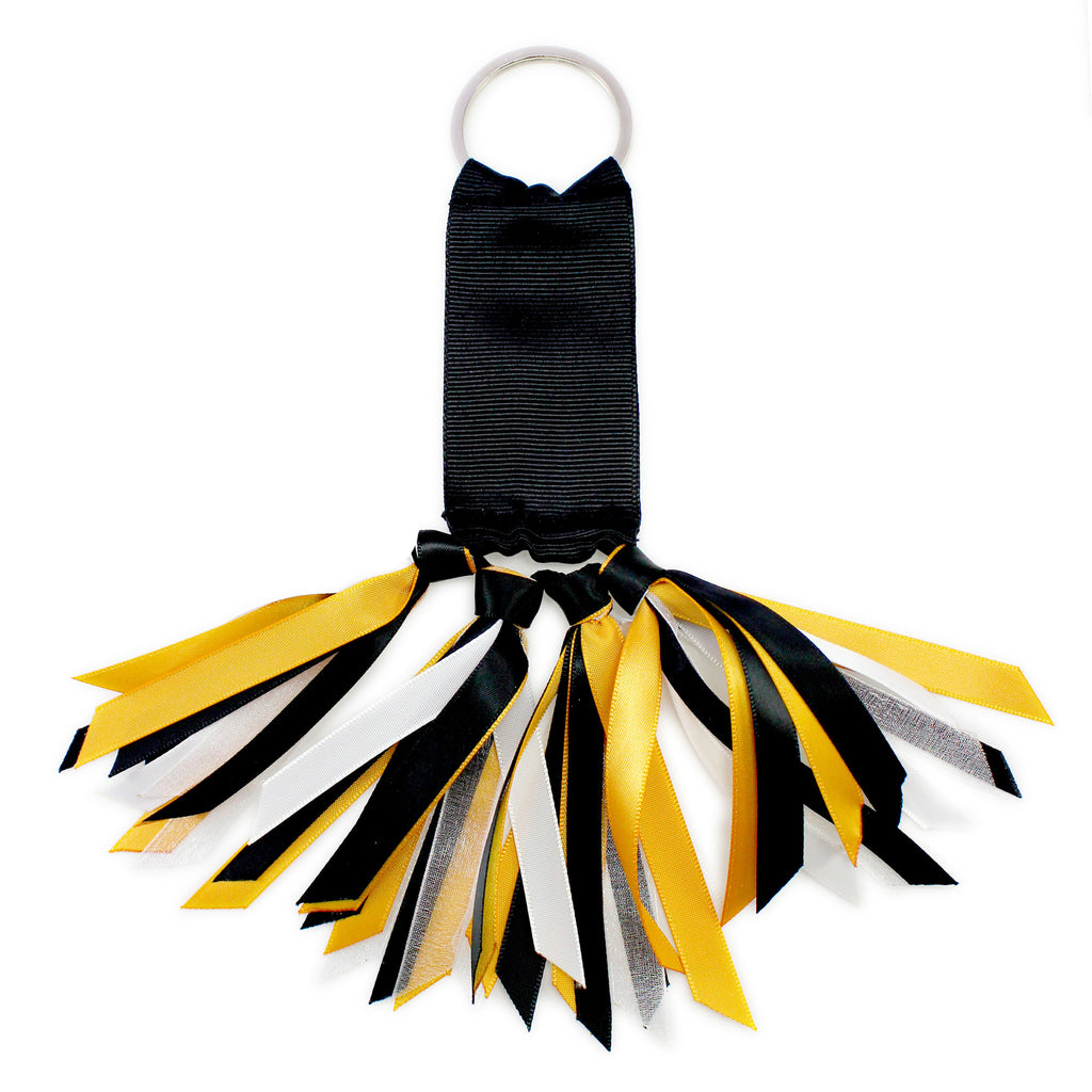 Black, Gold and White Team Colors Ribbon Key Chain