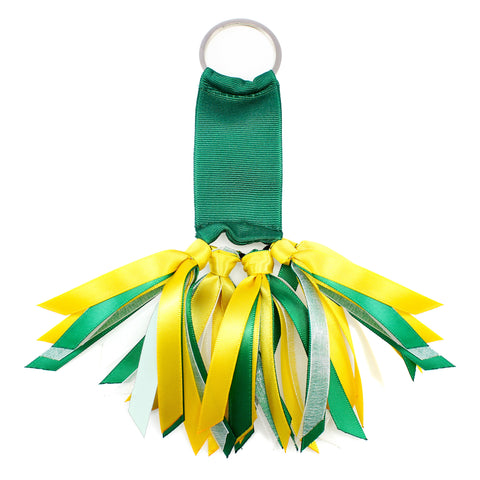 Green and Yellow Team Colors Ribbon Key Chain Soodle