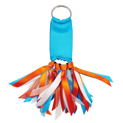 Turquoise Blue and Orange Team Colors Ribbon Key Chain Soodle