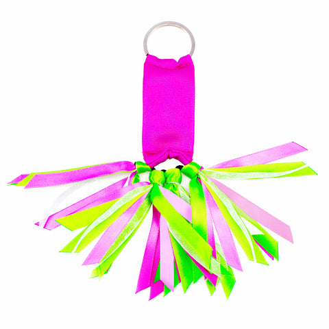 Pink and Lime Green Team Colors Ribbon Key Chain Soodle