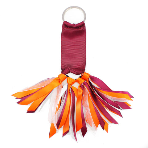Burgundy and Orange Team Colors Ribbon Key Chain Soodle