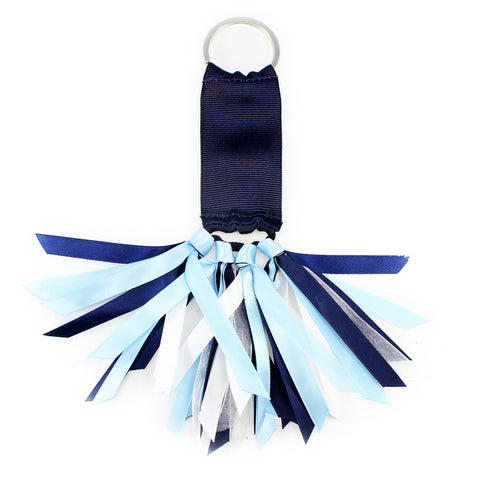 Navy Blue and Light Blue Team Colors Ribbon Key Chain Soodle