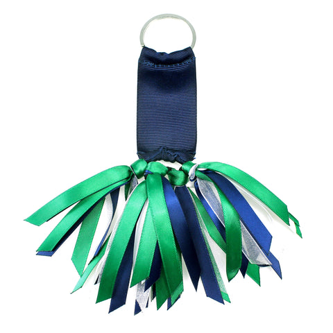 Navy Blue and Green Team Colors Ribbon Key Chain Soodle