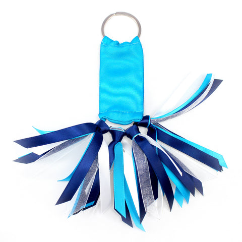 Turquoise Blue and Navy Blue Team Colors Ribbon Key Chain Soodle
