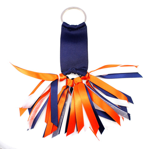 Navy Blue and Orange Team Colors Ribbon Key Chain Soodle