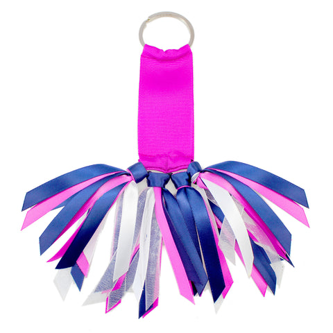Pink and Navy Team Colors Ribbon Key Chain Soodle