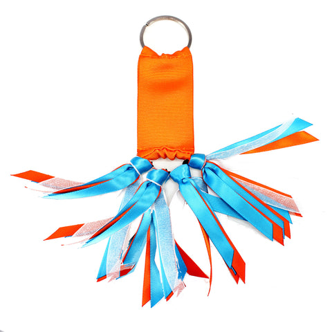 Orange and Turquoise Blue Team Colors Ribbon Key Chain Soodle