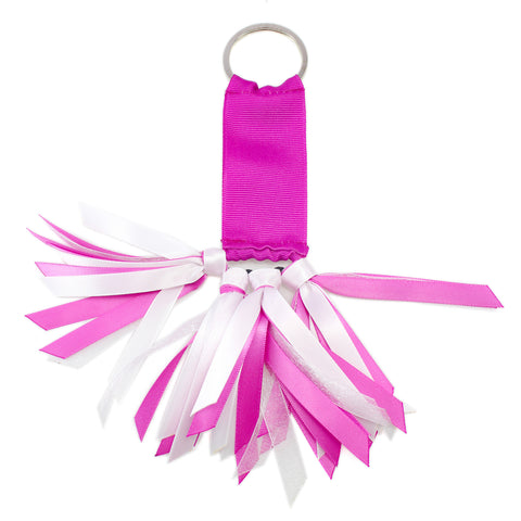 Pink and White Team Colors Ribbon Key Chain Soodle