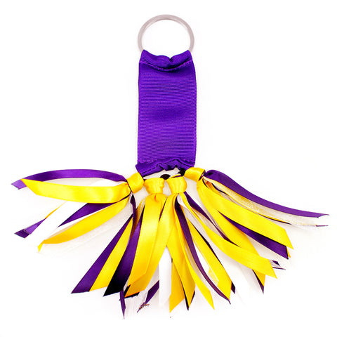 Purple and Yellow Gold Team Colors Ribbon Key Chain Soodle
