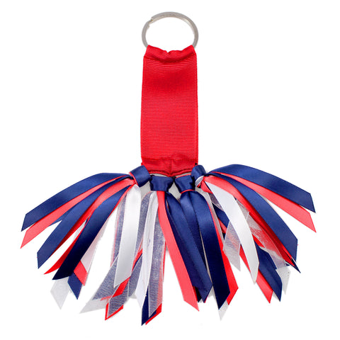 Red and Navy Blue Team Colors Ribbon Key Chain Soodle