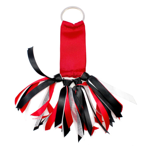 Red and Black Team Colors Ribbon Key Chain Soodle