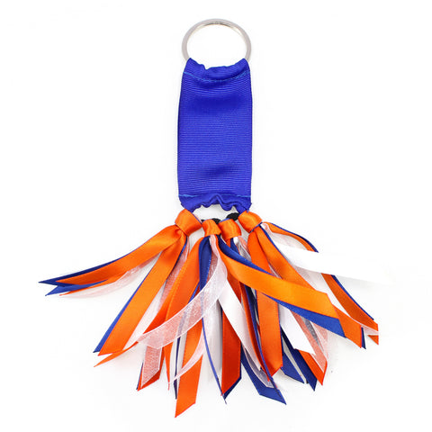 Royal Blue and Orange Team Colors Ribbon Key Chain Soodle