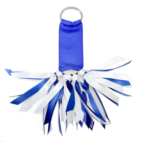 Royal Blue and White Team Colors Ribbon Key Chain Soodle