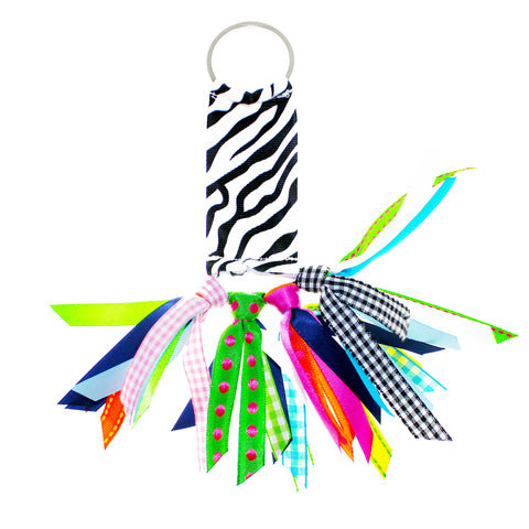 Black and White Ziggy Zebra Ribbon Key Chain Soodle