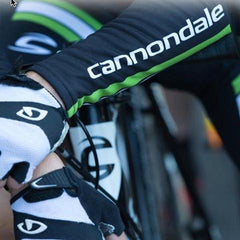 Image of Cannondale written on arm of Rider of Cycle cross CAADX rider