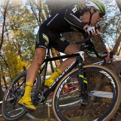Man riding Cannondale Cyclecross SuperX bike in forest