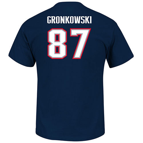 New England Patriots Rob Gronkowski Eligible Receiver Name & Number T-Shirt (Navy, Plain) - Dynasty Sports & Framing