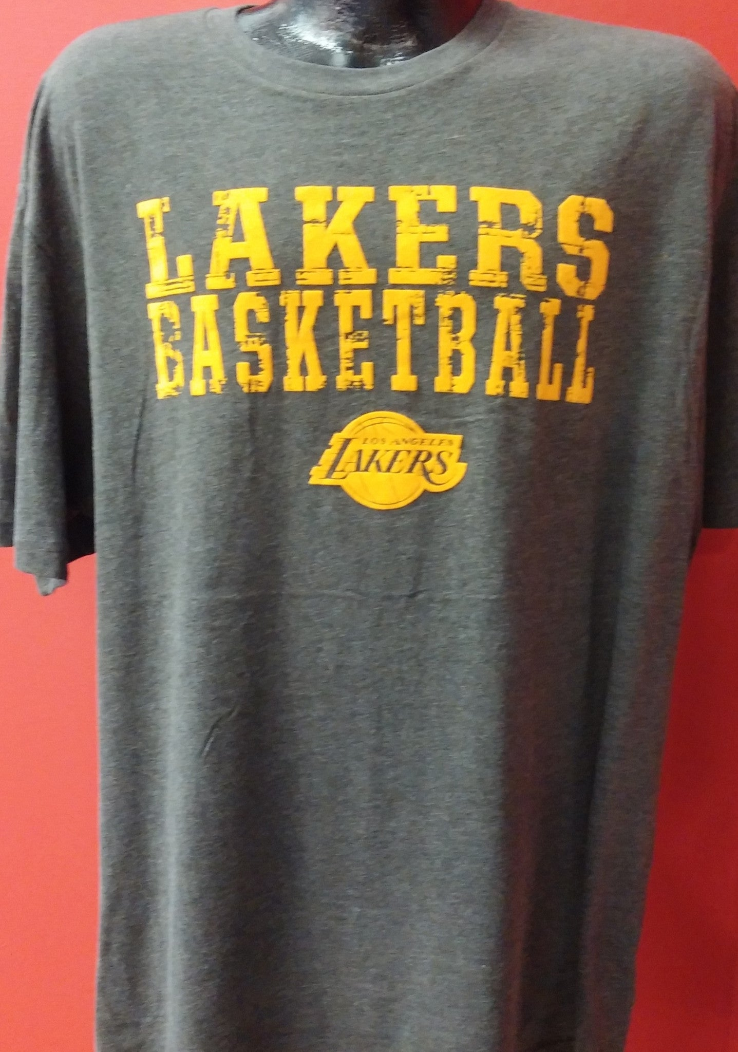 online store d4a79 67c45 Los Angeles Lakers NBA Basketball Embroidered Charcoal T-Shirt
