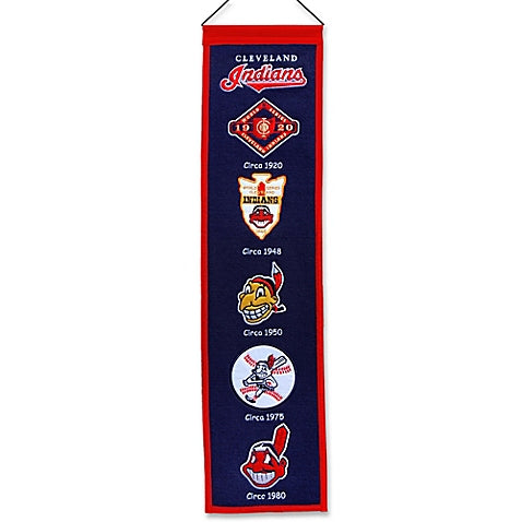 Cleveland Indians Wool MLB Baseball Heritage Banner - Dynasty Sports & Framing