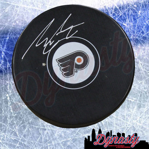 Morgan Frost Autographed Philadelphia Flyers Hockey Logo Puck - Dynasty Sports & Framing