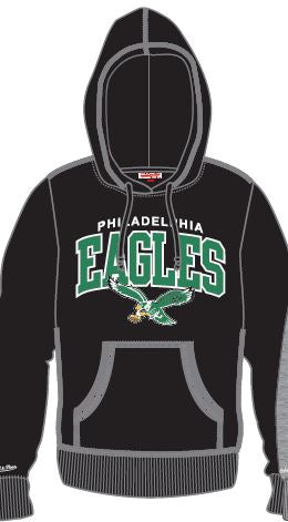 Philadelphia Eagles Mitchell & Ness Vintage Throwback Hooded Sweatshirt (Black)